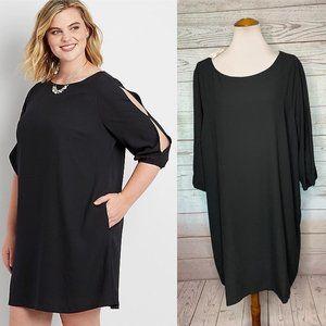 NWT Maurices black shift dress slit sleeve Plus 3x